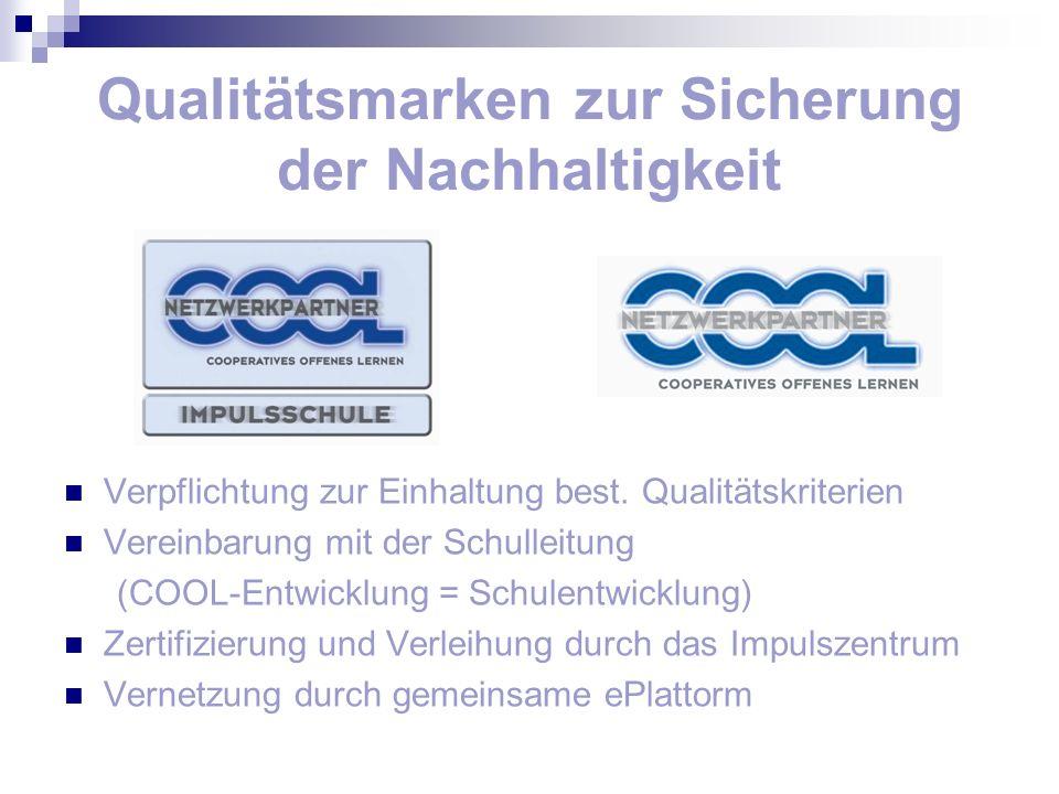 Qualitätsmarken zur Sicherung der Nachhaltigkeit Verpflichtung zur Einhaltung best. Qualitätskriterien Vereinbarung mit der Schulleitung (COOL-Entwick