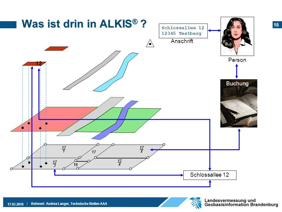 15 17.03.2010 Referent: Andrea Langer, Technische Stellen AAA Was ist drin in ALKIS ® ? 17 1 17 3 17 2 17 4 17 16 Person Buchung Schlossallee 12 12 Sc