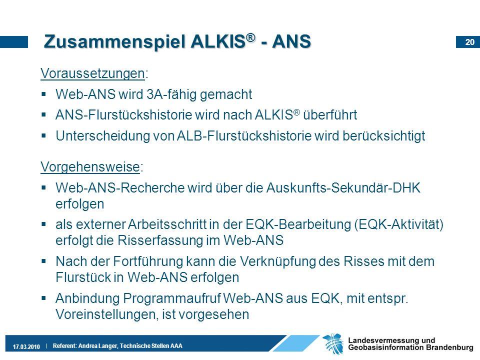 20 17.03.2010 Referent: Andrea Langer, Technische Stellen AAA Voraussetzungen: Web-ANS wird 3A-fähig gemacht ANS-Flurstückshistorie wird nach ALKIS ®