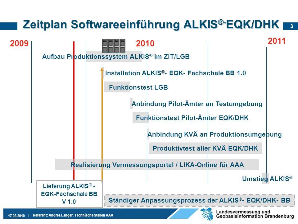 3 17.03.2010 Referent: Andrea Langer, Technische Stellen AAA Zeitplan Softwareeinführung ALKIS ®- EQK/DHK 2010 2011 Realisierung Vermessungsportal / L