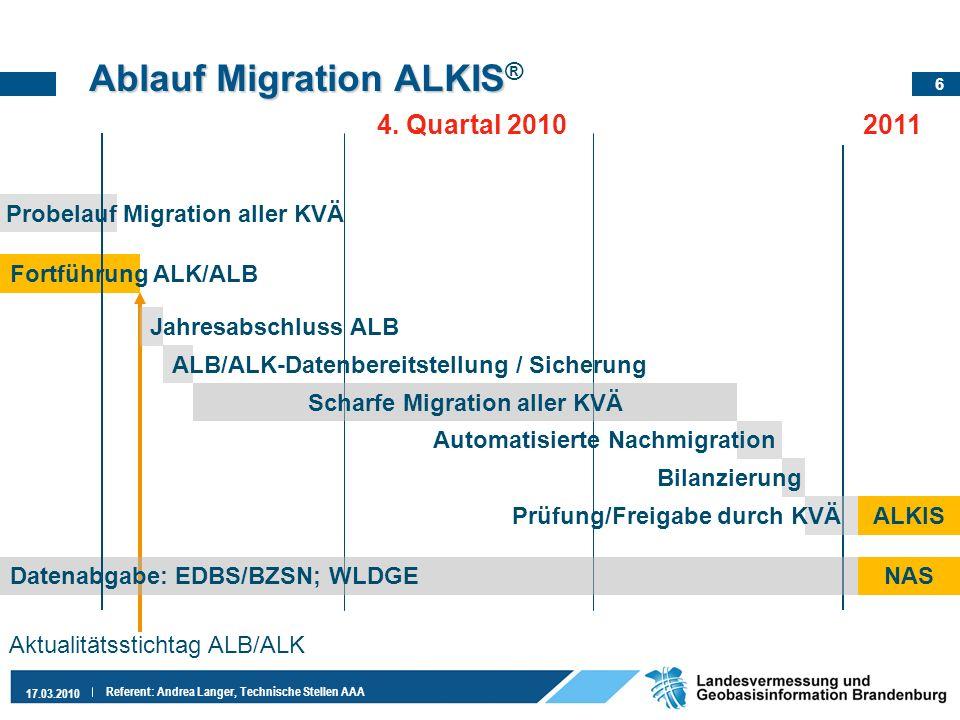 6 17.03.2010 Referent: Andrea Langer, Technische Stellen AAA Automatisierte Nachmigration Bilanzierung Ablauf Migration ALKIS Ablauf Migration ALKIS ®
