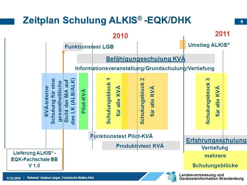 9 17.03.2010 Referent: Andrea Langer, Technische Stellen AAA Erfahrungsschulung Zeitplan Schulung ALKIS Zeitplan Schulung ALKIS ® -EQK/DHK 2010 2011 B