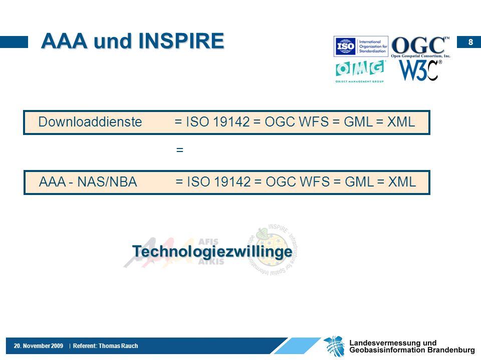 8 20. November 2009 Referent: Thomas Rauch AAA und INSPIRE Downloaddienste= ISO 19142 = OGC WFS = GML = XML AAA - NAS/NBA= ISO 19142 = OGC WFS = GML =