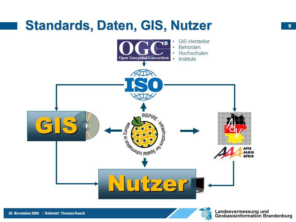 9 20. November 2009 Referent: Thomas Rauch Standards, Daten, GIS, Nutzer GIS Nutzer GIS-Hersteller Behörden Hochschulen Institute