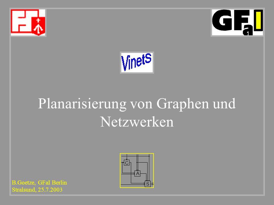 B.Goetze, GFaI Berlin Stralsund, 25.7.2003 C A S Planarisierung von Graphen und Netzwerken