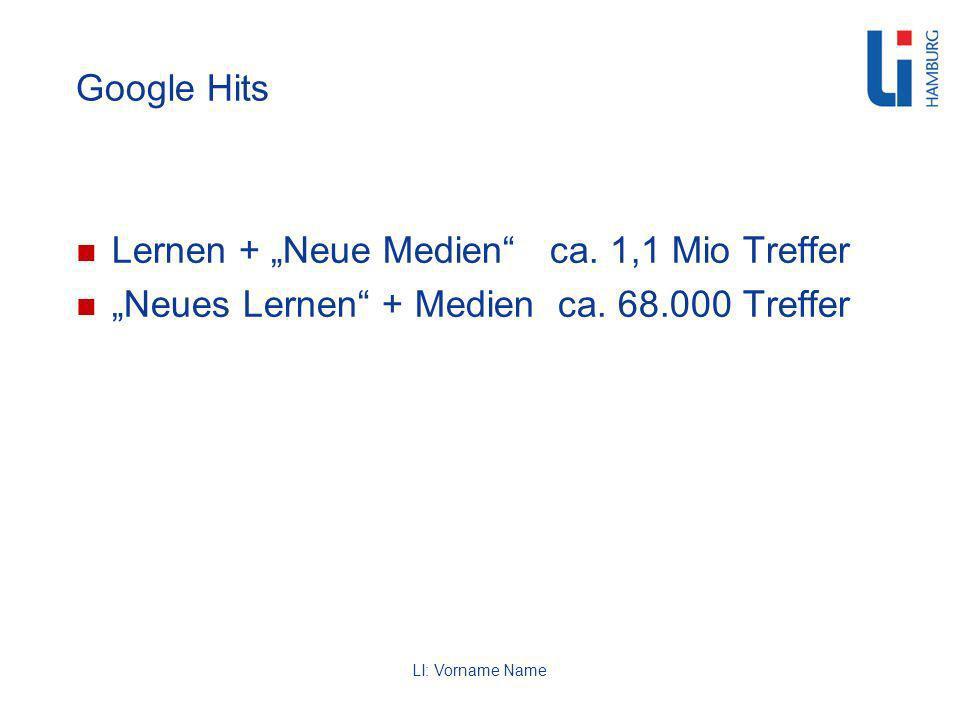 LI: Vorname Name Google Hits Lernen + Neue Medien ca.