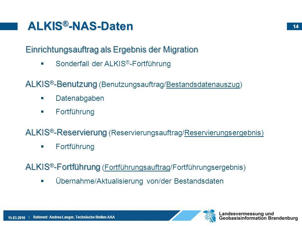14 15.03.2010 Referent: Andrea Langer, Technische Stellen AAA ALKIS ® -NAS-Daten Einrichtungsauftrag als Ergebnis der Migration Sonderfall der ALKIS ®
