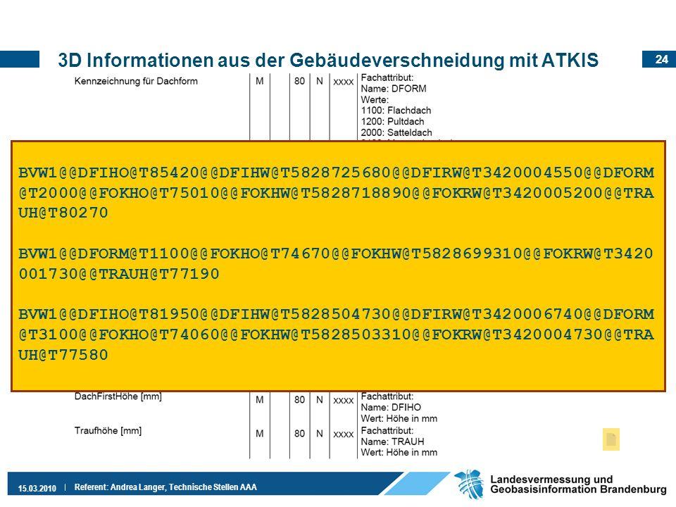 24 15.03.2010 Referent: Andrea Langer, Technische Stellen AAA 3D Informationen aus der Gebäudeverschneidung mit ATKIS Auszug:VALK-Richtlinien, Folie 1