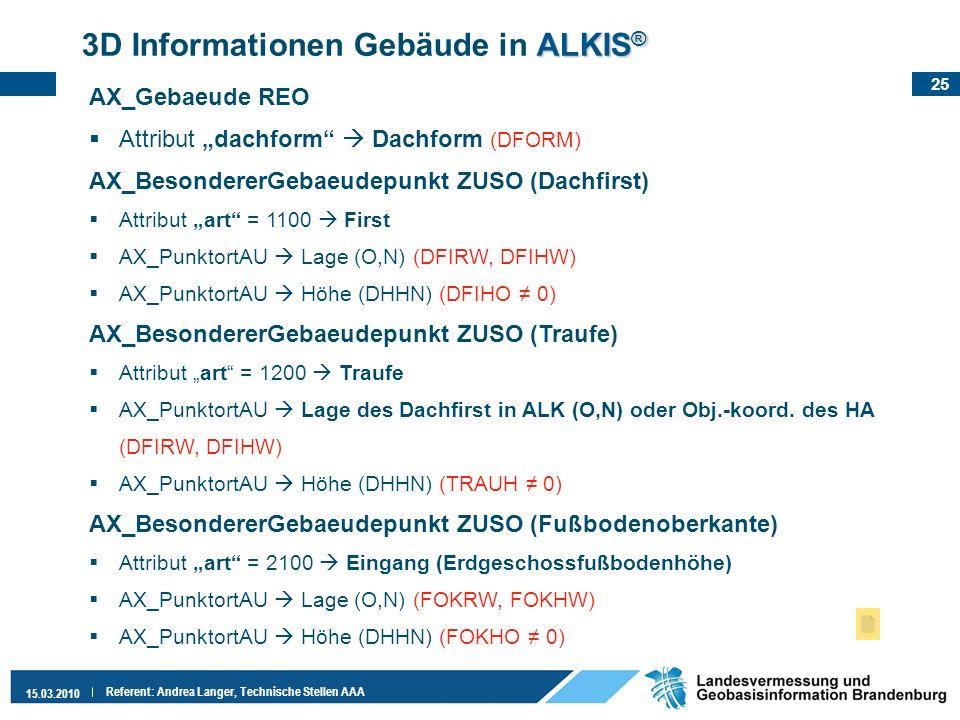 25 15.03.2010 Referent: Andrea Langer, Technische Stellen AAA ALKIS ® 3D Informationen Gebäude in ALKIS ® AX_Gebaeude REO Attribut dachform Dachform (