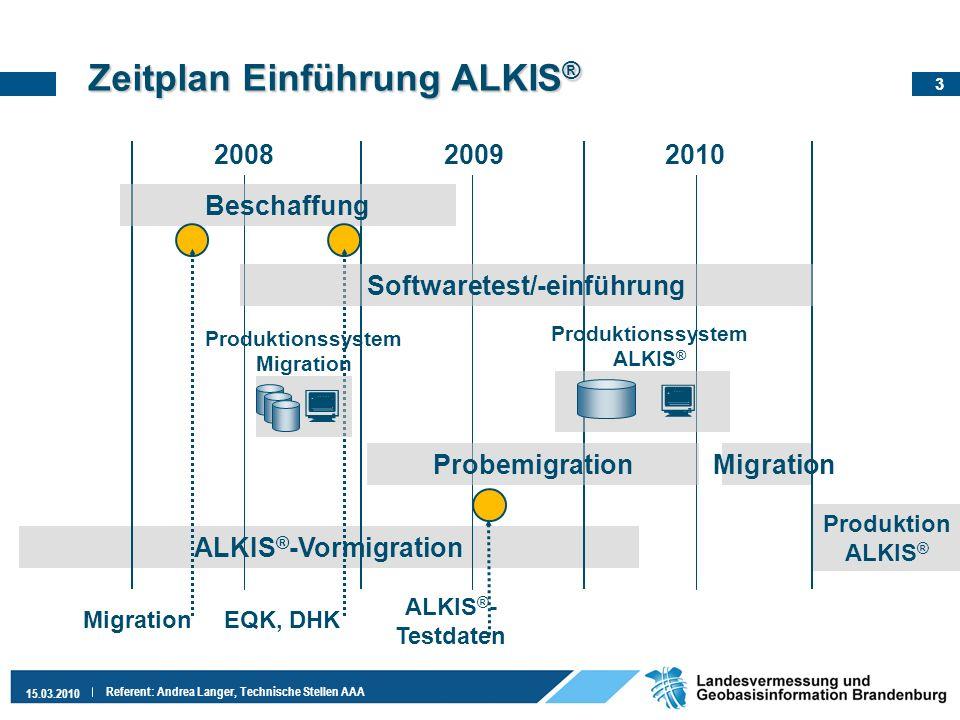 3 15.03.2010 Referent: Andrea Langer, Technische Stellen AAA Zeitplan EinführungALKIS ® Zeitplan Einführung ALKIS ® ALKIS ® -Vormigration 200820092010