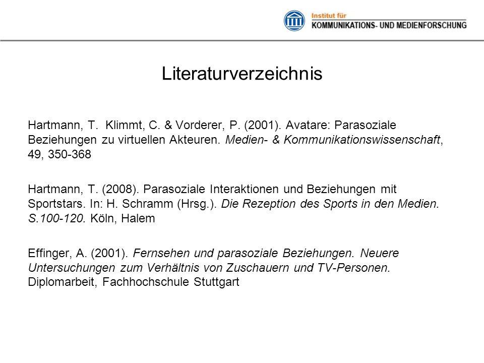 Literaturverzeichnis Hartmann, T. Klimmt, C. & Vorderer, P. (2001). Avatare: Parasoziale Beziehungen zu virtuellen Akteuren. Medien- & Kommunikationsw