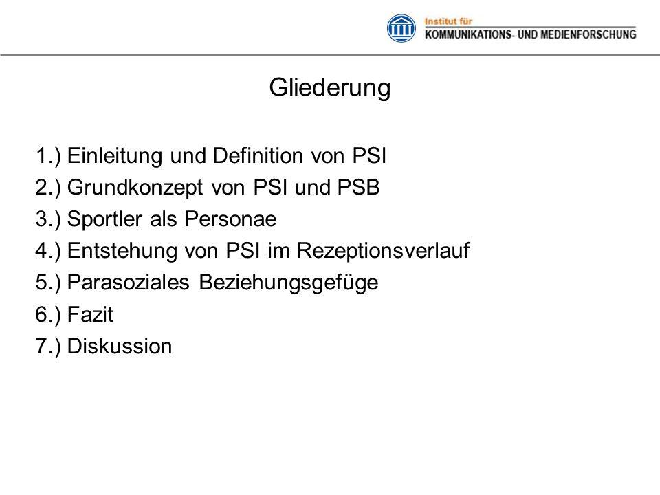 Gliederung 1.) Einleitung und Definition von PSI 2.) Grundkonzept von PSI und PSB 3.) Sportler als Personae 4.) Entstehung von PSI im Rezeptionsverlau