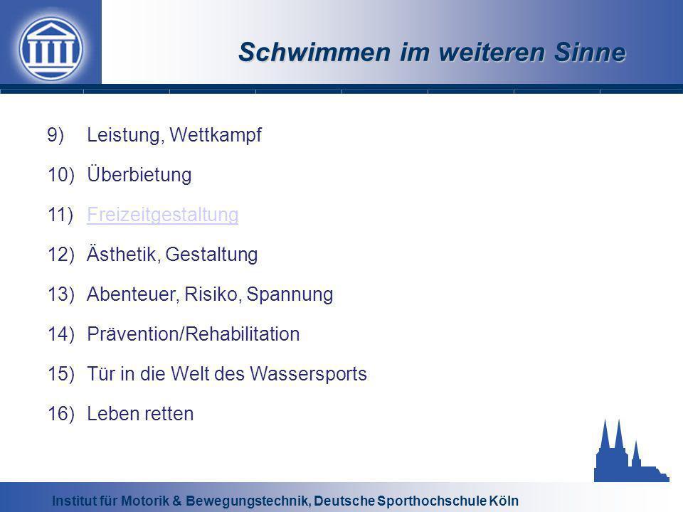 Institut für Motorik & Bewegungstechnik, Deutsche Sporthochschule Köln Schwimmen im weiteren Sinne 9)Leistung, Wettkampf 10)Überbietung 11)Freizeitges