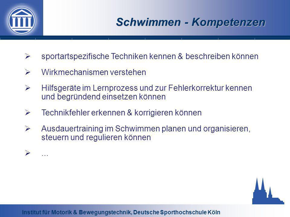 Institut für Motorik & Bewegungstechnik, Deutsche Sporthochschule Köln Schwimmen - Kompetenzen sportartspezifische Techniken kennen & beschreiben könn