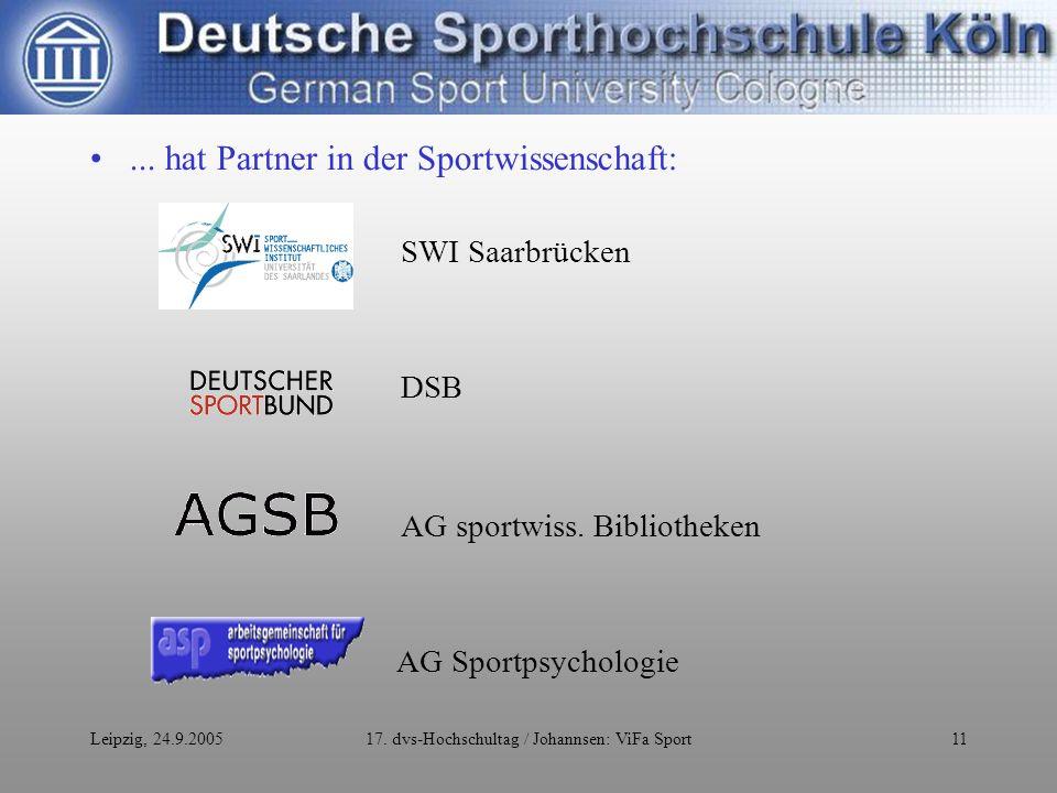 Leipzig, 24.9.200517. dvs-Hochschultag / Johannsen: ViFa Sport11...