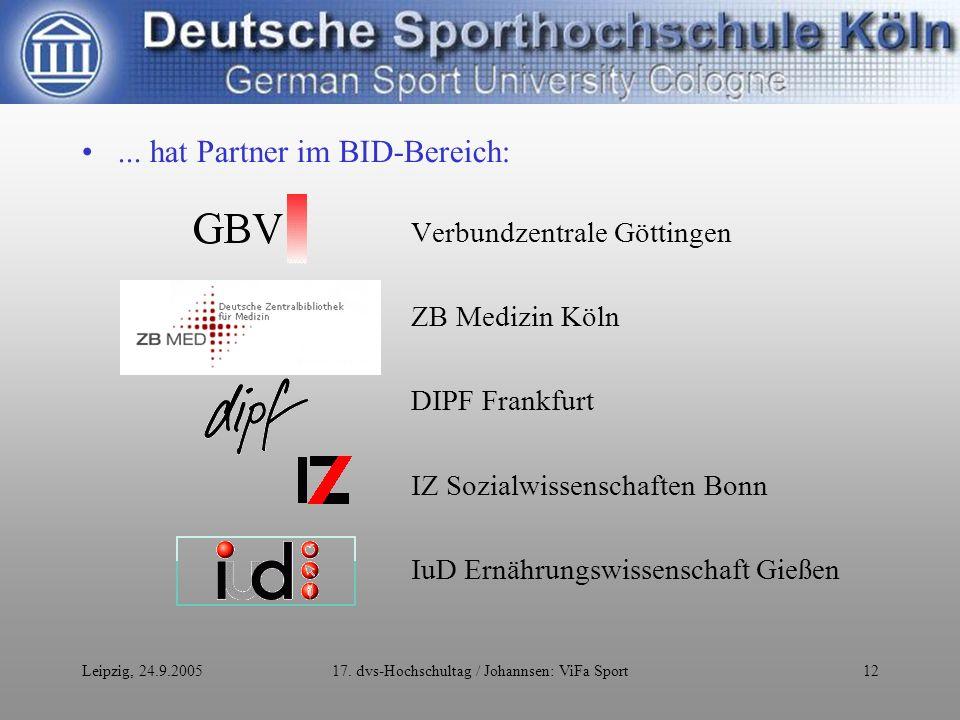 Leipzig, 24.9.200517. dvs-Hochschultag / Johannsen: ViFa Sport12...