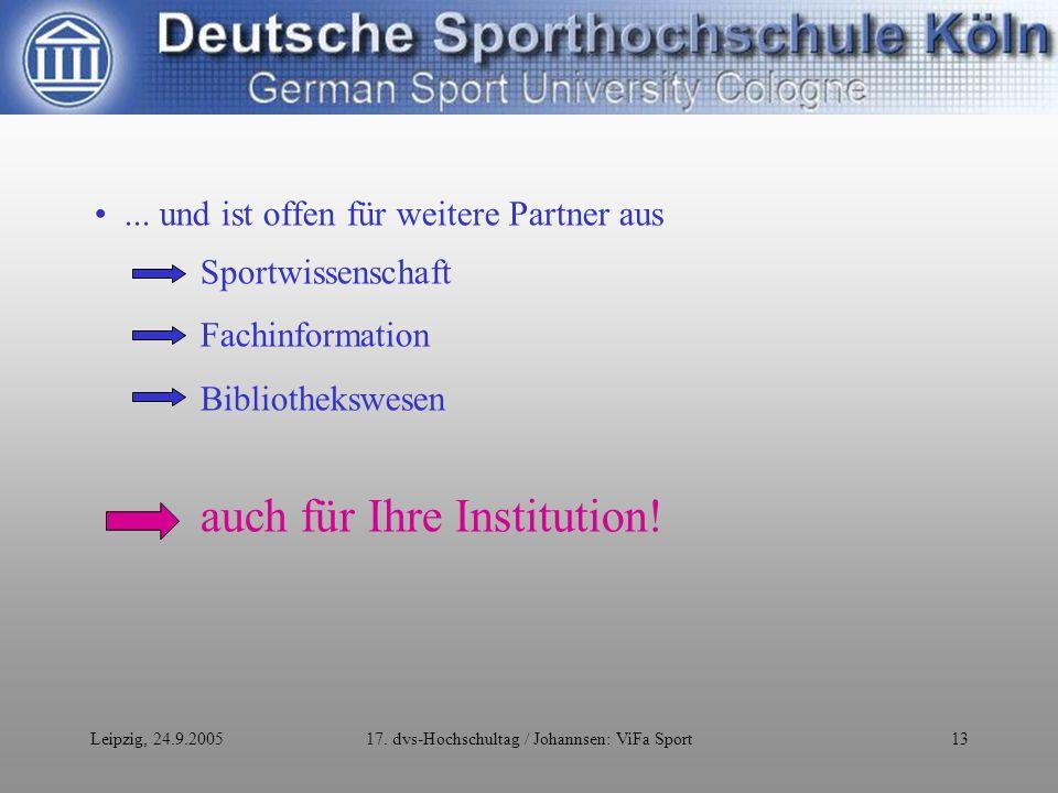 Leipzig, 24.9.200517. dvs-Hochschultag / Johannsen: ViFa Sport13...