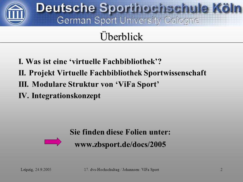 Leipzig, 24.9.200517.dvs-Hochschultag / Johannsen: ViFa Sport3 Eine virtuelle Fachbibliothek......