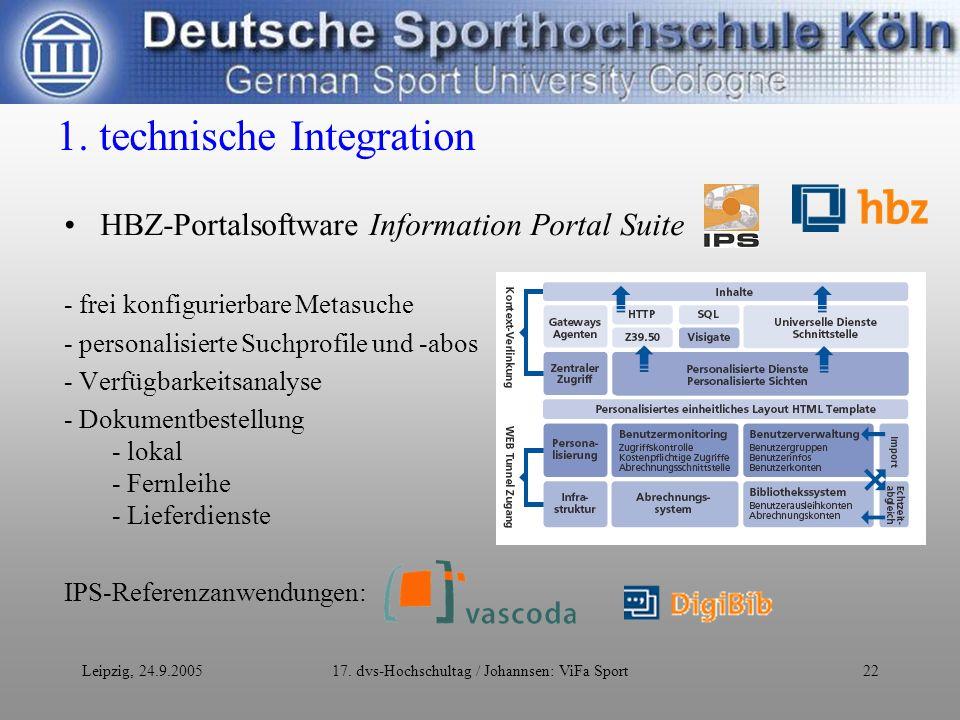 Leipzig, 24.9.200517. dvs-Hochschultag / Johannsen: ViFa Sport22 1.