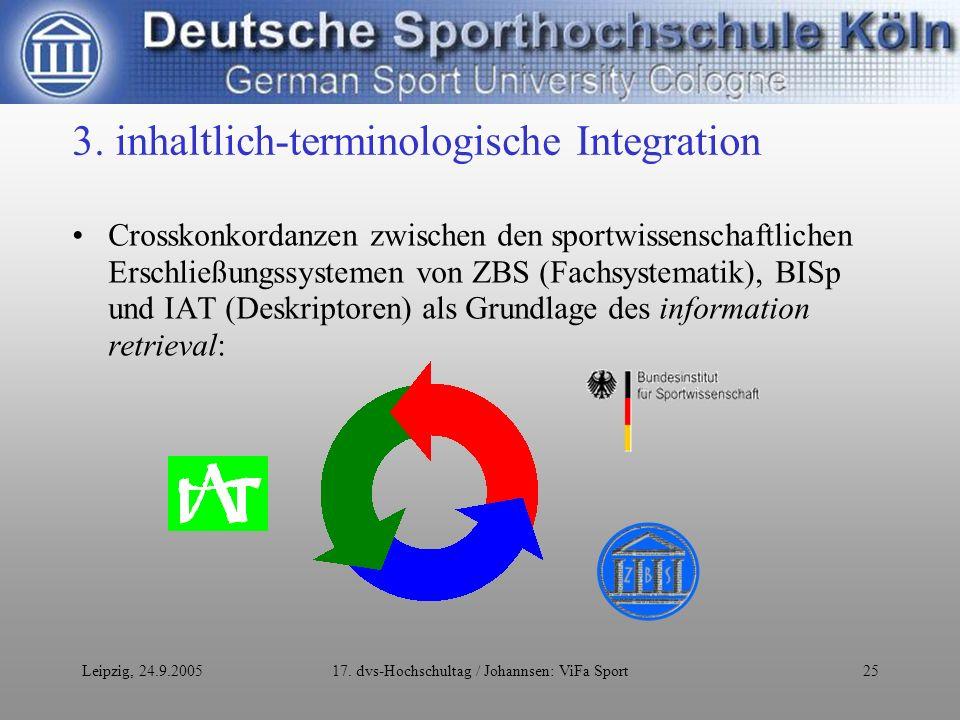 Leipzig, 24.9.200517. dvs-Hochschultag / Johannsen: ViFa Sport25 3.