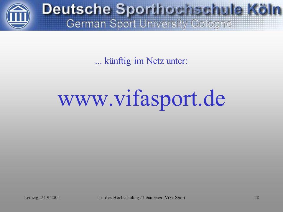 Leipzig, 24.9.200517. dvs-Hochschultag / Johannsen: ViFa Sport28 www.vifasport.de...