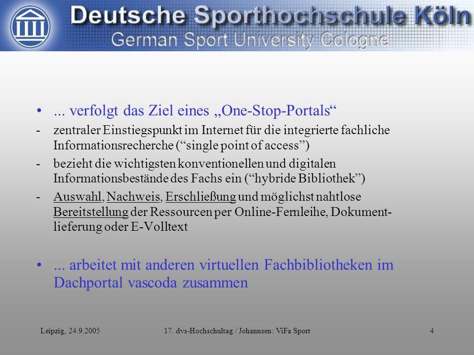 Leipzig, 24.9.200517. dvs-Hochschultag / Johannsen: ViFa Sport4...
