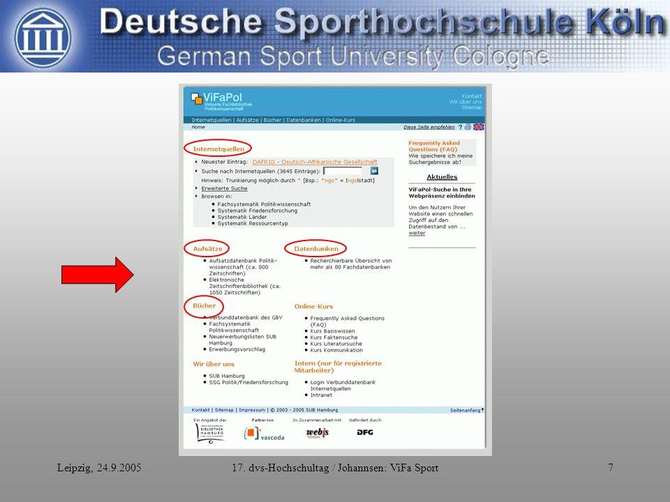 Leipzig, 24.9.200517. dvs-Hochschultag / Johannsen: ViFa Sport7