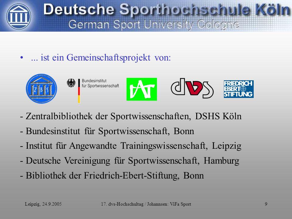 Leipzig, 24.9.200517.dvs-Hochschultag / Johannsen: ViFa Sport10...