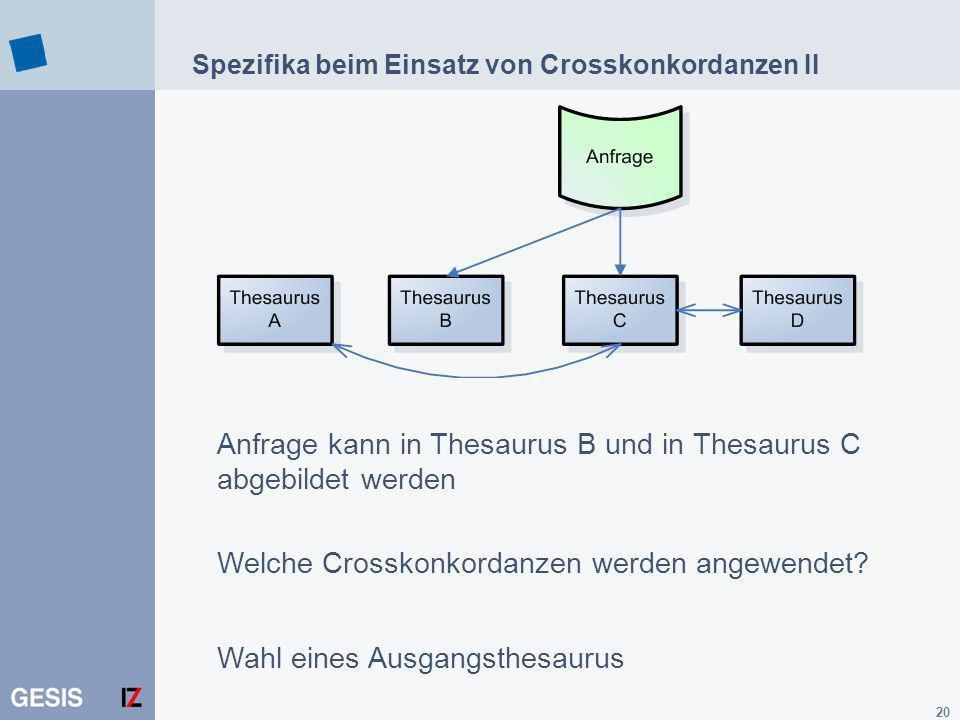 20 Spezifika beim Einsatz von Crosskonkordanzen II Anfrage kann in Thesaurus B und in Thesaurus C abgebildet werden Welche Crosskonkordanzen werden an