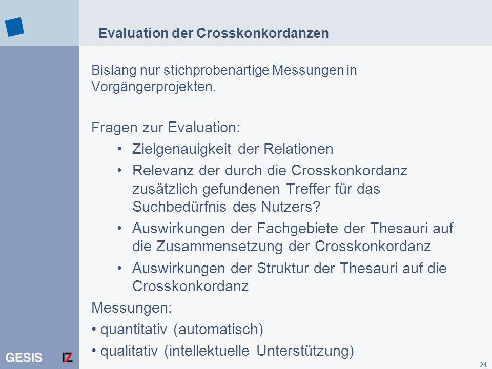 24 Evaluation der Crosskonkordanzen Bislang nur stichprobenartige Messungen in Vorgängerprojekten. F ragen zur Evaluation: Zielgenauigkeit der Relatio