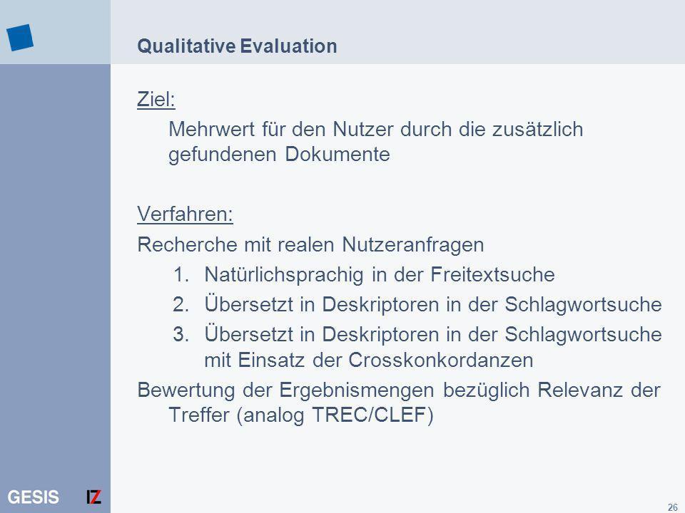 26 Qualitative Evaluation Ziel: Mehrwert für den Nutzer durch die zusätzlich gefundenen Dokumente Verfahren: Recherche mit realen Nutzeranfragen 1.Nat