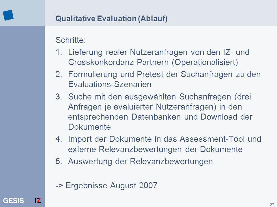 27 Qualitative Evaluation (Ablauf) Schritte: 1.Lieferung realer Nutzeranfragen von den IZ- und Crosskonkordanz-Partnern (Operationalisiert) 2.Formulie