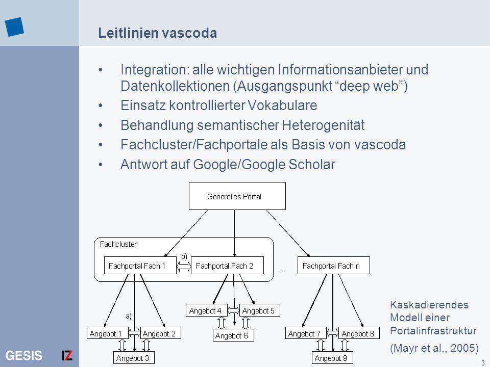 3 Leitlinien vascoda Integration: alle wichtigen Informationsanbieter und Datenkollektionen (Ausgangspunkt deep web) Einsatz kontrollierter Vokabulare