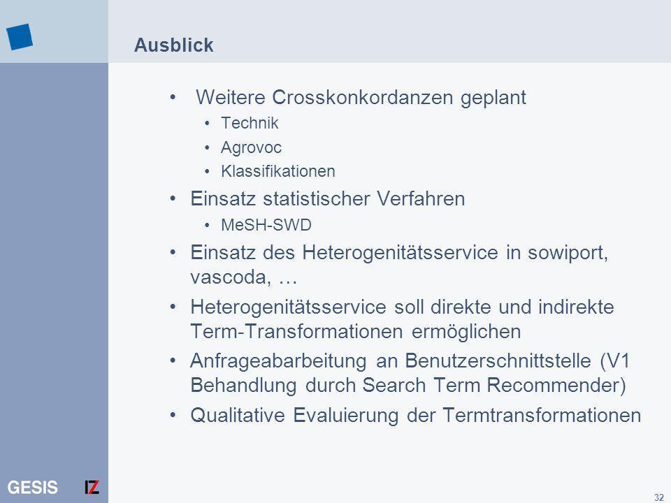 32 Ausblick Weitere Crosskonkordanzen geplant Technik Agrovoc Klassifikationen Einsatz statistischer Verfahren MeSH-SWD Einsatz des Heterogenitätsserv