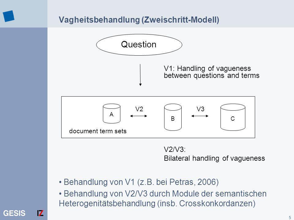 5 A BC document term sets V3V2 Vagheitsbehandlung (Zweischritt-Modell) V1: Handling of vagueness between questions and terms V2/V3: Bilateral handling of vagueness Question Behandlung von V1 (z.B.