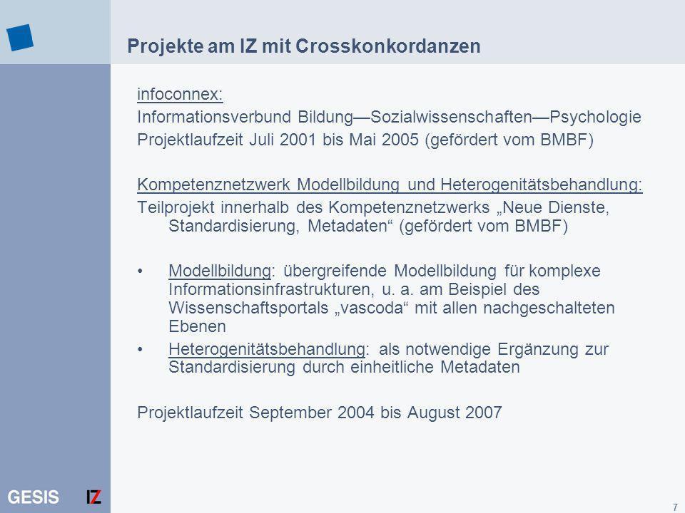 7 Projekte am IZ mit Crosskonkordanzen infoconnex: Informationsverbund BildungSozialwissenschaftenPsychologie Projektlaufzeit Juli 2001 bis Mai 2005 (