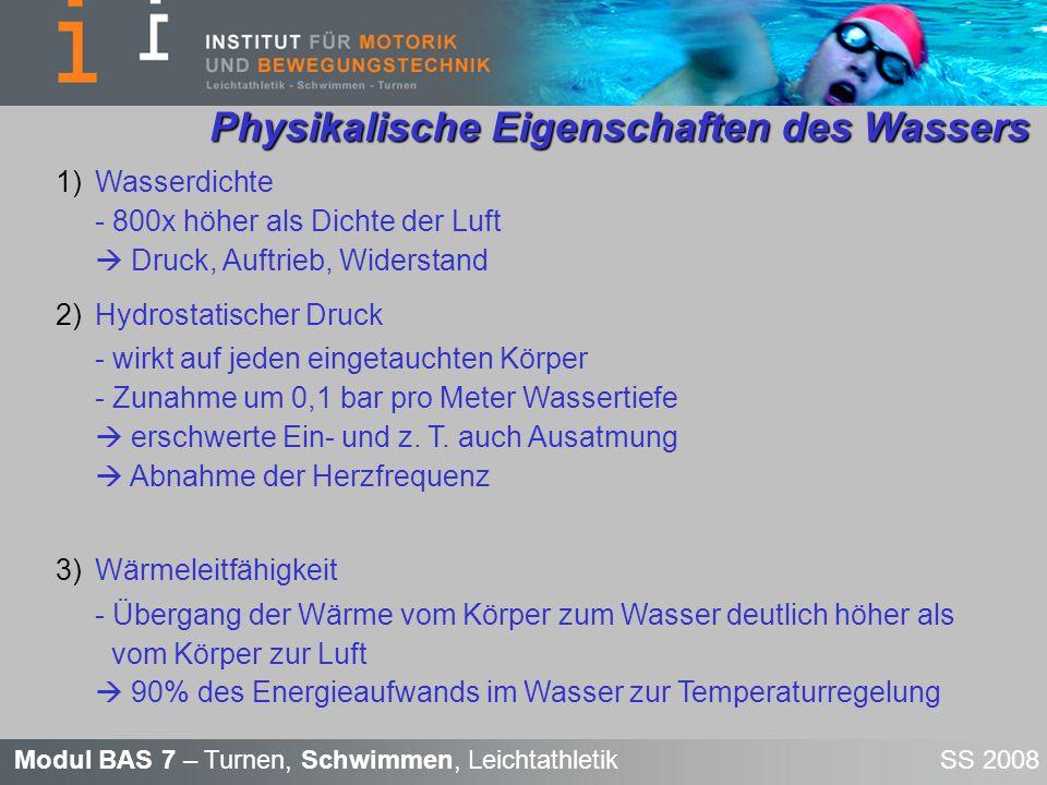 Modul BAS 7 – Turnen, Schwimmen, Leichtathletik SS 2008 Physikalische Eigenschaften des Wassers Physikalische Eigenschaften des Wassers 1)Wasserdichte
