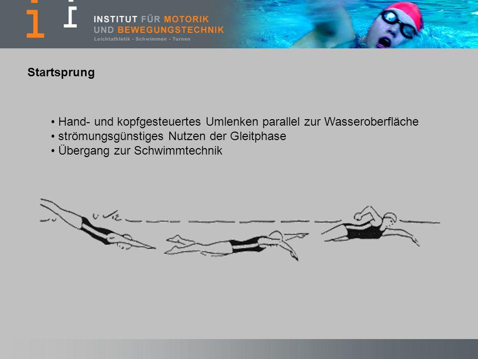 Hand- und kopfgesteuertes Umlenken parallel zur Wasseroberfläche strömungsgünstiges Nutzen der Gleitphase Übergang zur Schwimmtechnik Startsprung