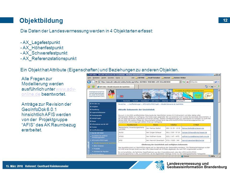 12 15. März 2010Referent: Gunthard Reinkensmeier Objektbildung Die Daten der Landesvermessung werden in 4 Objektarten erfasst: - AX_Lagefestpunkt - AX