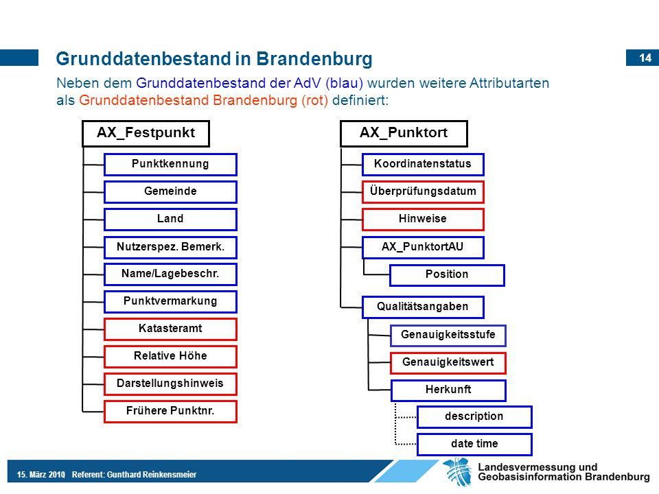 14 15. März 2010Referent: Gunthard Reinkensmeier Grunddatenbestand in Brandenburg Neben dem Grunddatenbestand der AdV (blau) wurden weitere Attributar