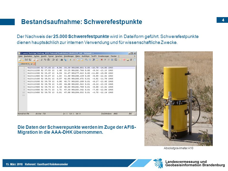 4 15. März 2010Referent: Gunthard Reinkensmeier Der Nachweis der 25.000 Schwerefestpunkte wird in Dateiform geführt. Schwerefestpunkte dienen hauptsäc