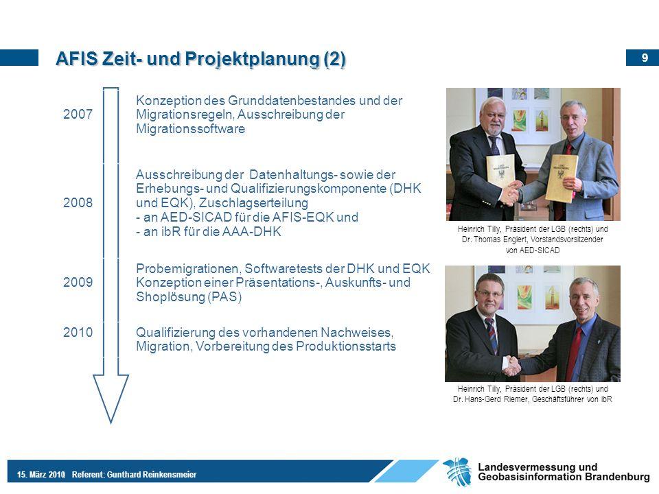 9 15. März 2010Referent: Gunthard Reinkensmeier AFIS Zeit- und Projektplanung (2) 2007 Konzeption des Grunddatenbestandes und der Migrationsregeln, Au