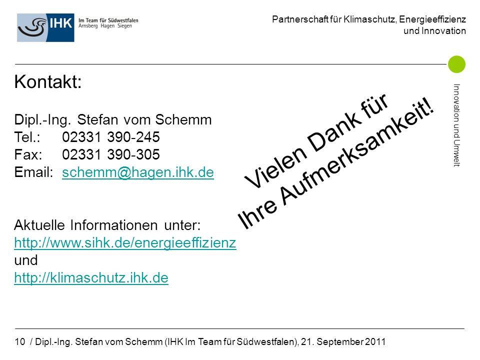 Partnerschaft für Klimaschutz, Energieeffizienz und Innovation Innovation und Umwelt 10 / Dipl.-Ing.