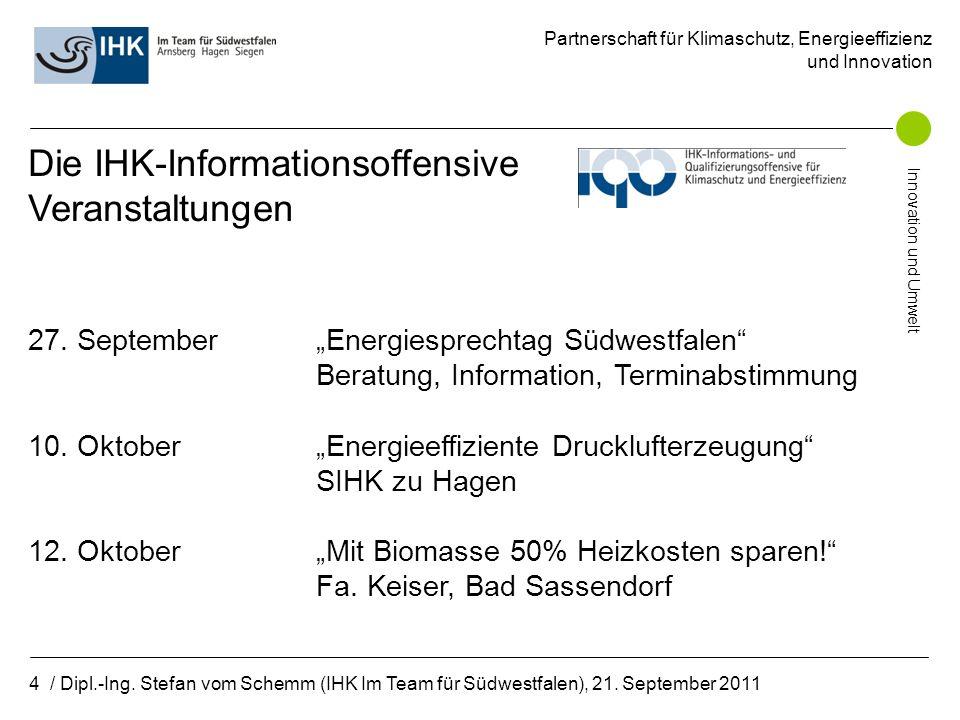 Partnerschaft für Klimaschutz, Energieeffizienz und Innovation Innovation und Umwelt 5 / Dipl.-Ing.
