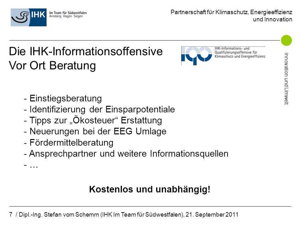 Partnerschaft für Klimaschutz, Energieeffizienz und Innovation Innovation und Umwelt 8 / Dipl.-Ing.