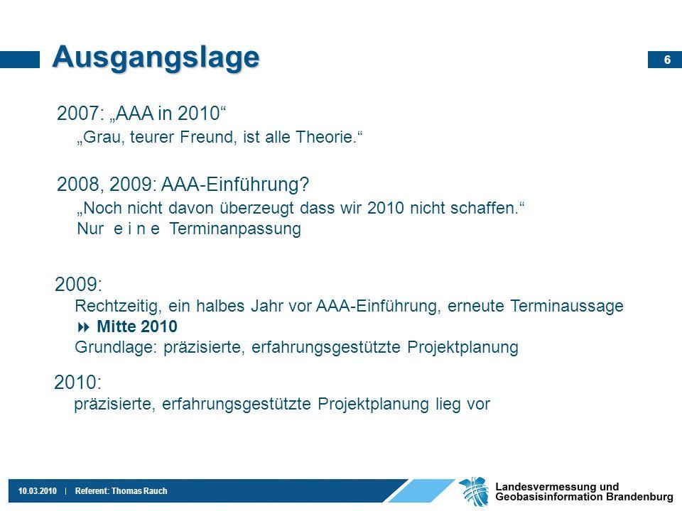 7 10.03.2010Referent: Thomas Rauch Projektplan Beschluss: Beratung zur Technischen Verfahrensstrategie: Leitung MI und LGB am 31.5.10 AAA-Einführung 1.