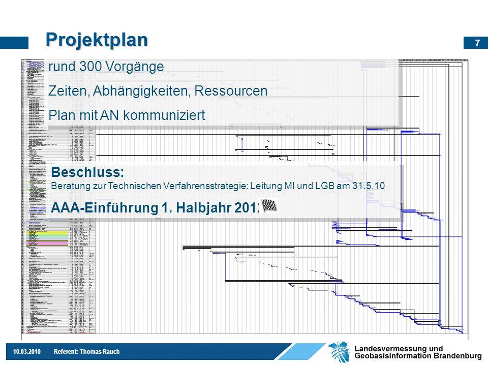 8 10.03.2010Referent: Thomas Rauch Gründe Einführungserfahrung seit 2009 Iterationsschritte zur Softwareverbesserung 1 - 2 3 - 4 Vermessungsportal Hardware bei ZIT-BB Datenaustausch ÖbVI .