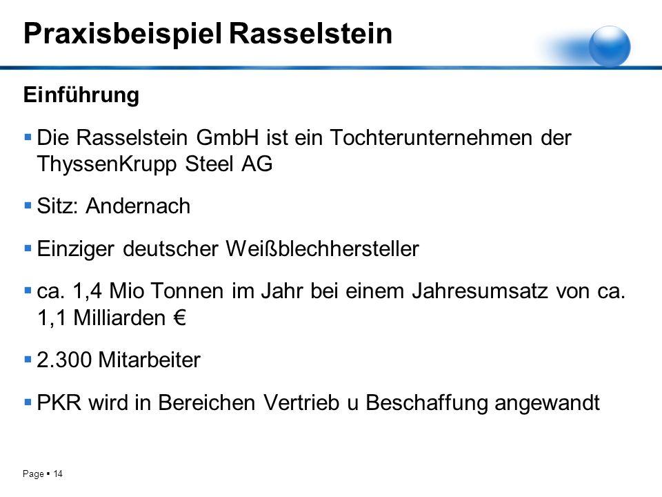 Page 14 Praxisbeispiel Rasselstein Einführung Die Rasselstein GmbH ist ein Tochterunternehmen der ThyssenKrupp Steel AG Sitz: Andernach Einziger deuts