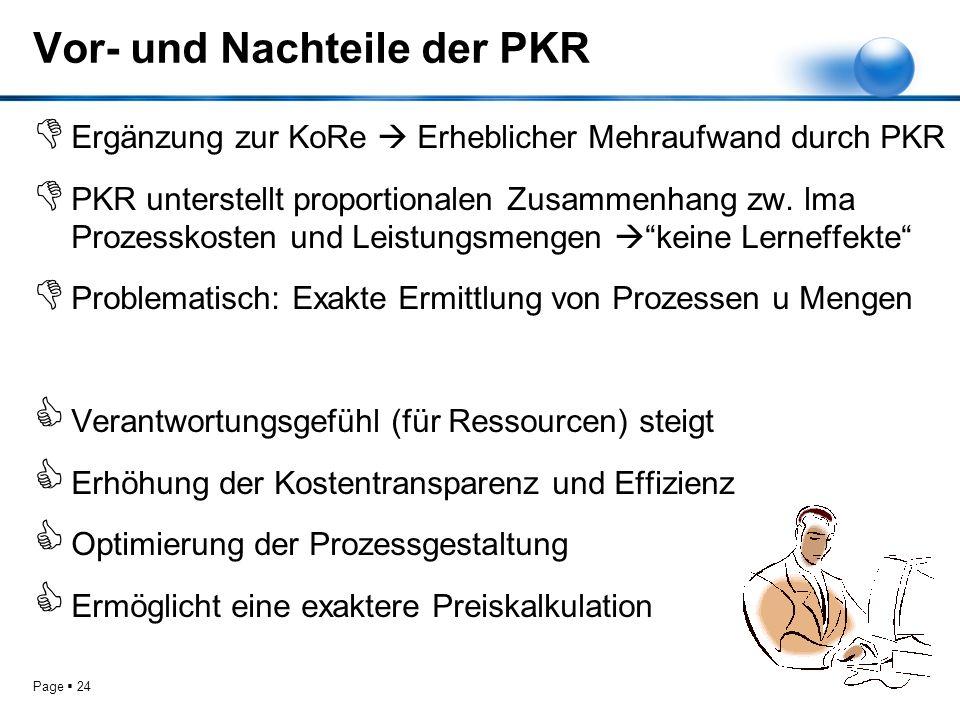 Page 24 Vor- und Nachteile der PKR Ergänzung zur KoRe Erheblicher Mehraufwand durch PKR PKR unterstellt proportionalen Zusammenhang zw. lma Prozesskos