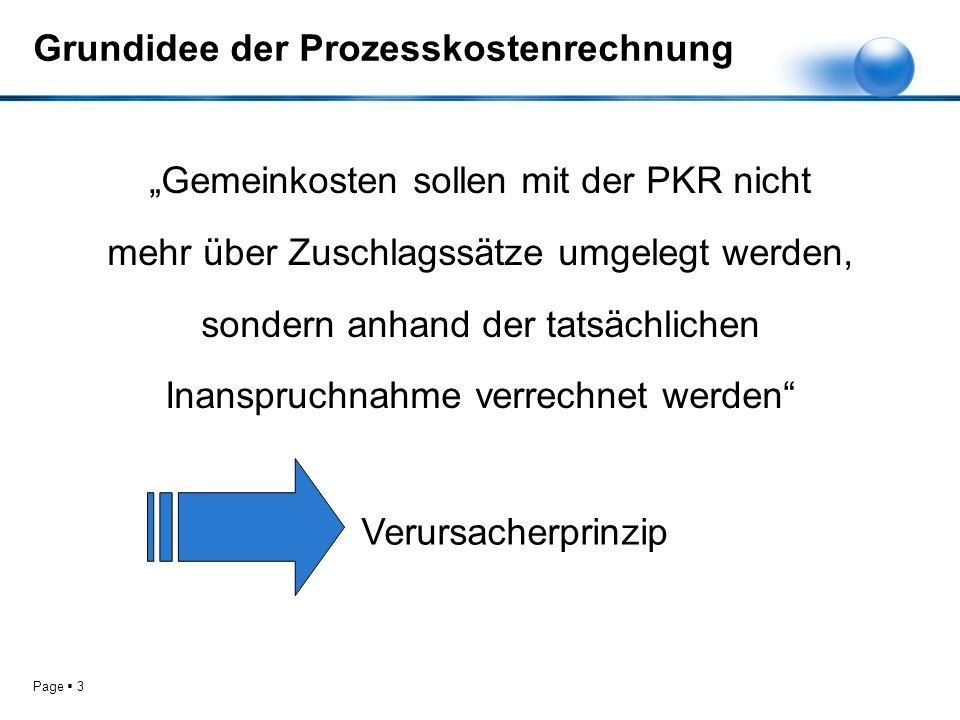Page 3 Grundidee der Prozesskostenrechnung Gemeinkosten sollen mit der PKR nicht mehr über Zuschlagssätze umgelegt werden, sondern anhand der tatsächl
